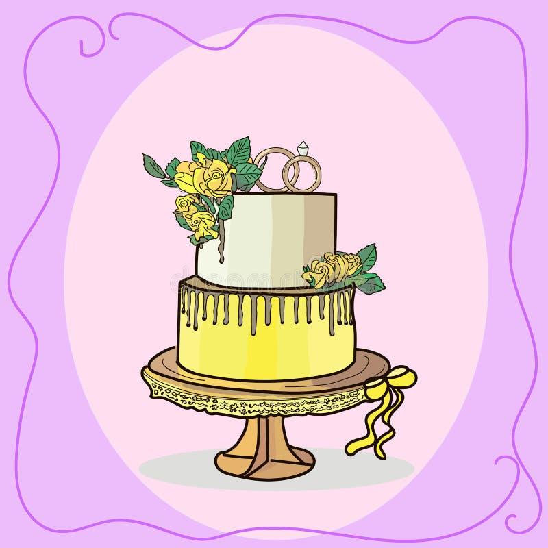 Two tier wedding cake vector. Illustration vector illustration