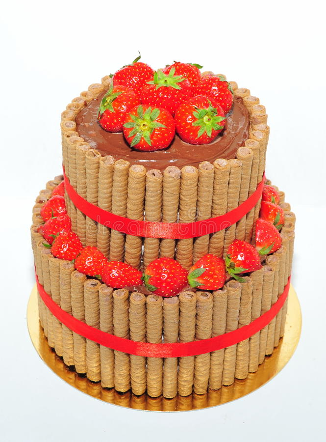 Two tiers chocolate and strawberry cake royalty free stock photo