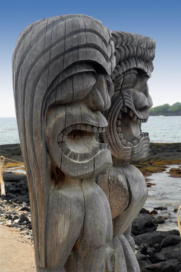 Two Tiki Gods royalty free stock photos