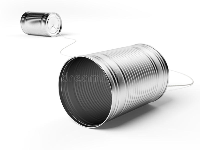 Two tin cans attached with string stock illustration