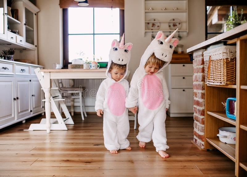 Two toddler children with unicorn masks walking indoors at home. Two toddler children with white unicorn masks walking indoors at home stock image