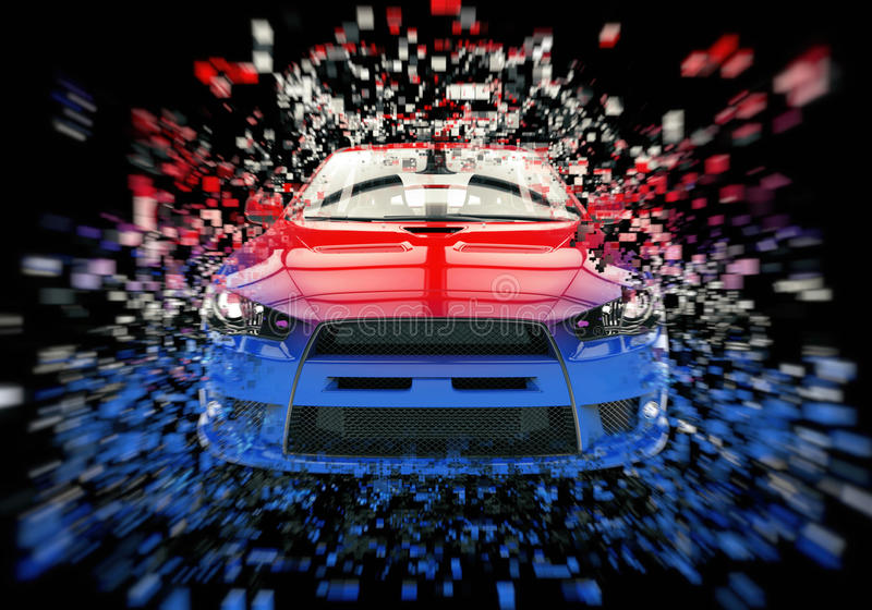 Two tone sports car - abstract pixel illustration stock photo
