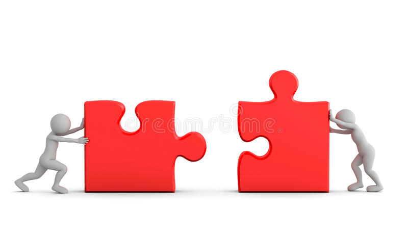 Two toon men connect two puzzle pieces. Concept of business solution, teamwork vector illustration