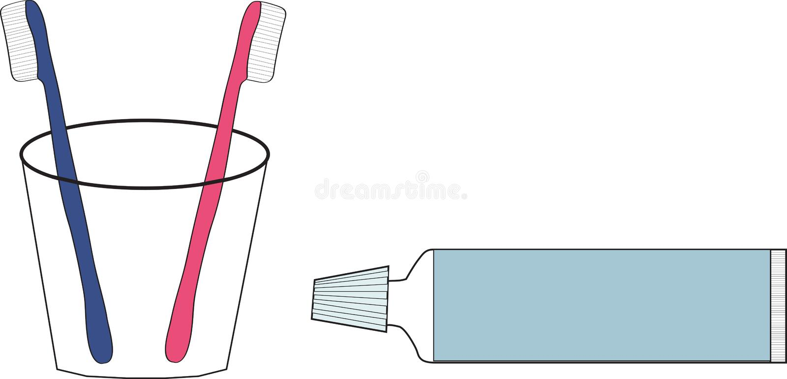 Download Two Tooth Brushes And Tooth-paste Stock Vector - Illustration of beauty, health: 23063433