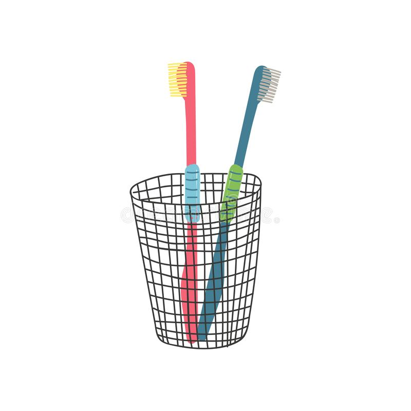 Two Toothbrushes in Metal Cup, Zero Waste Reusable Object, Eco lifestyle Concept Vector Illustration. On White Background royalty free illustration