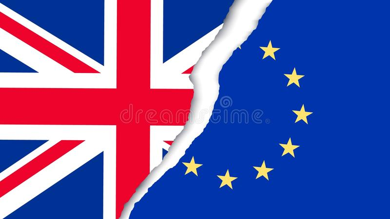 Two torn flags - EU and UK. Brexit concept. stock illustration