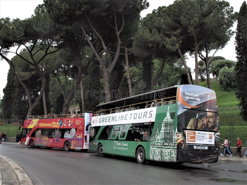 Tour buses in Rome, Italy stock photo