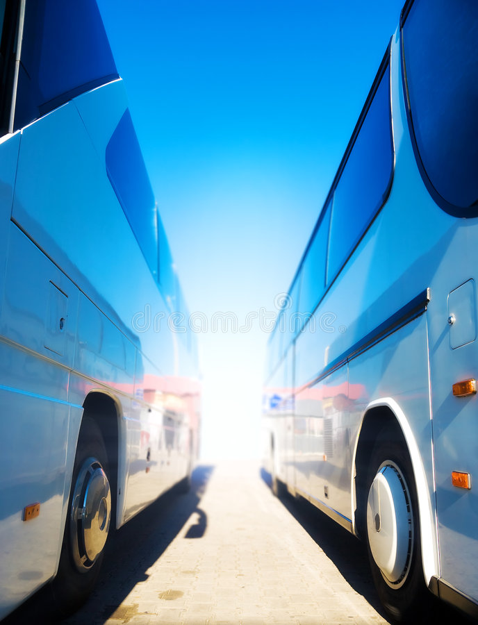 Two tourist buses royalty free stock image