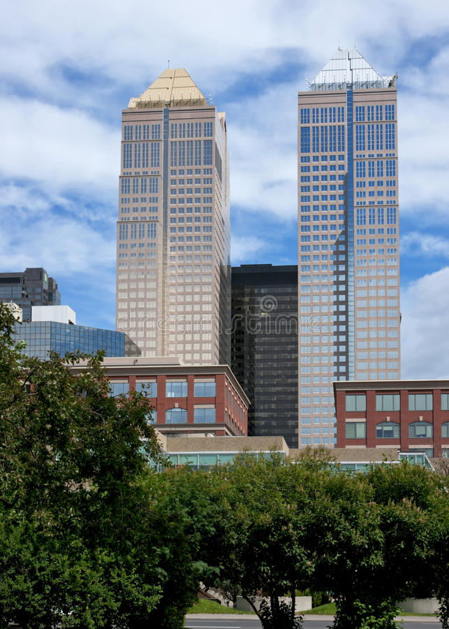 Two towers of 'Bankers Hall' rise stock image