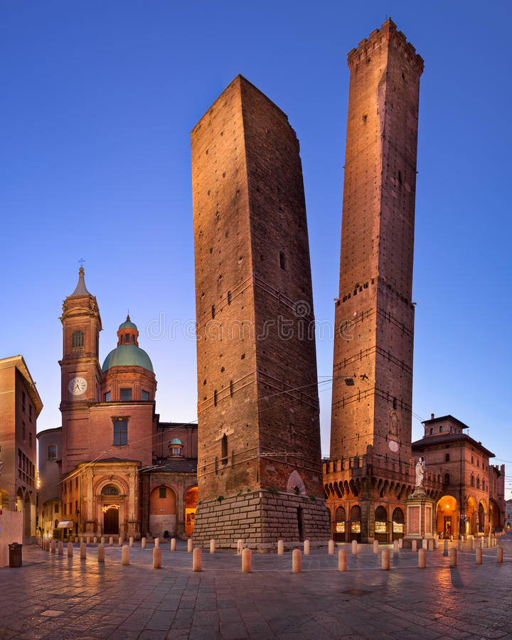 Two Towers and Chiesa di San Bartolomeo in the Morning, Bologna, Emilia-Romagna, Italy royalty free stock photo
