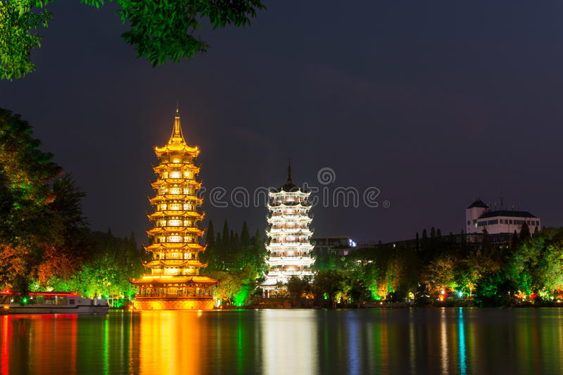 Download Two Towers In Guilin China At Night Stock Image - Image of city, lake: 87760213
