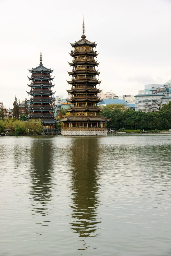 Download Two towers in lake stock image. Image of china, pagoda - 17517355