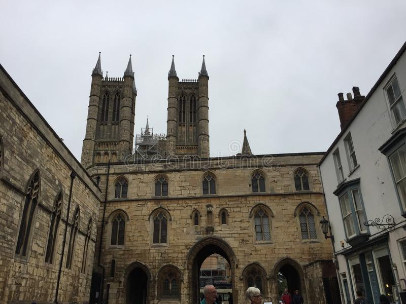 Lincoln cathedral`s two towers stock images