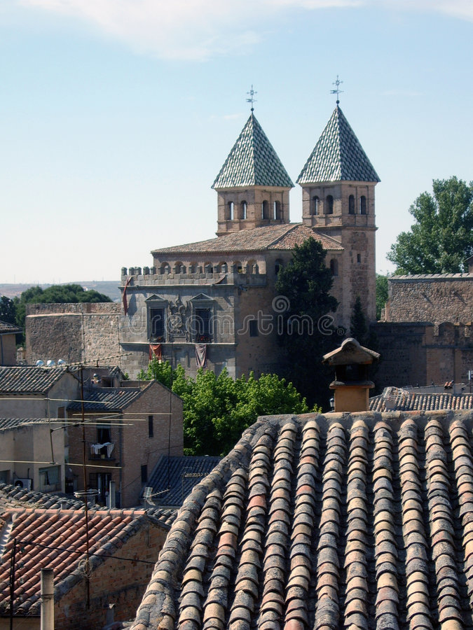 Download Two towers and a roof stock photo. Image of tiles, spain - 137740