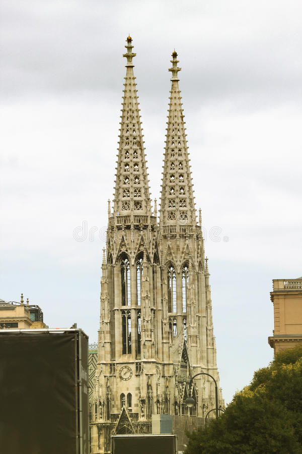 Two towers of Votive church in Vienna, Austria stock images