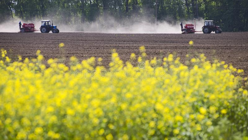 Two tractors working in the field have a dust on them. stock photo