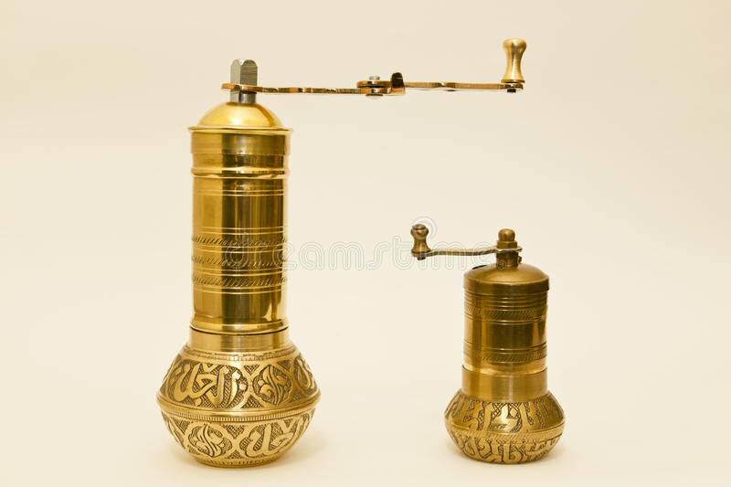 Two Traditional Brass Coffee Or Spice Grinders Royalty Free Stock Photography