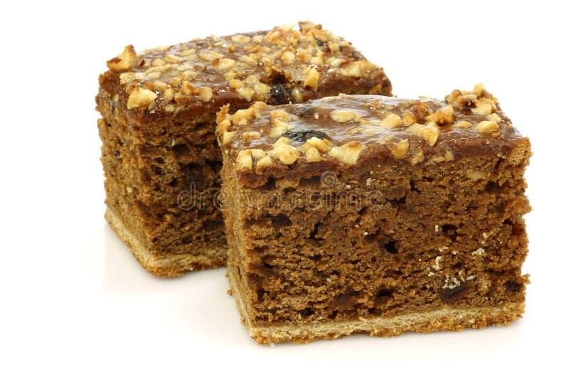 Two traditional Frisian glazed cake pieces royalty free stock photo