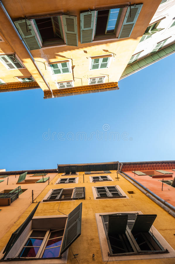 Download Two Traditional Houses In Nice City, France. Stock Image - Image of europe, blue: 25974821