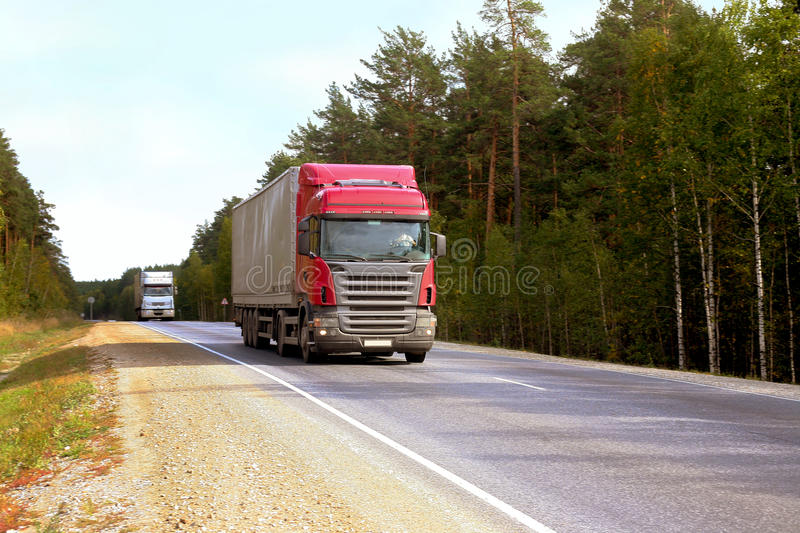Download Two trailers go on highway stock photo. Image of green - 26538128
