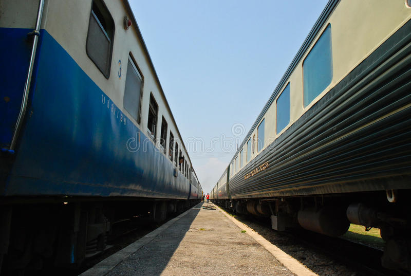 Two train two rail two travel royalty free stock photography