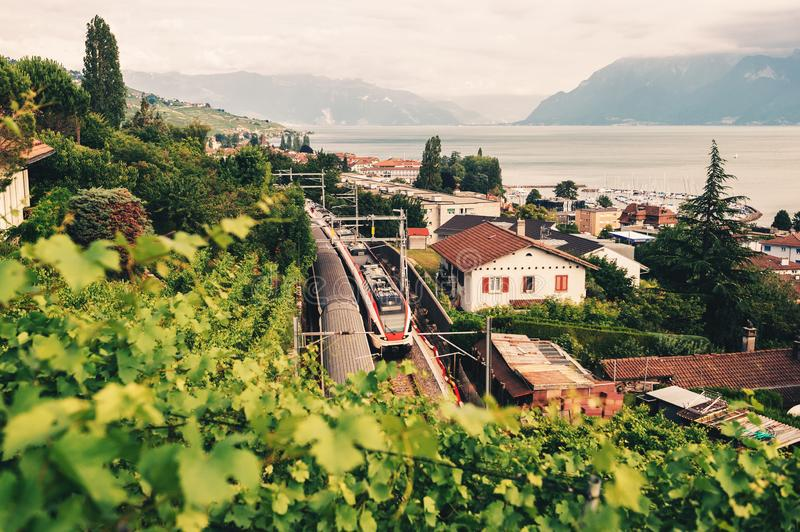 Two trains moving on rail-tracks through Lavaux vineyards stock image
