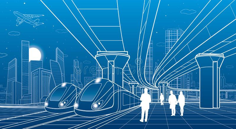 Two trains travel by rail. Modern night town. Urban scene. Big bridge. People walking at platform. Airplane fly. White lines on bl. Ue background. Vector design vector illustration