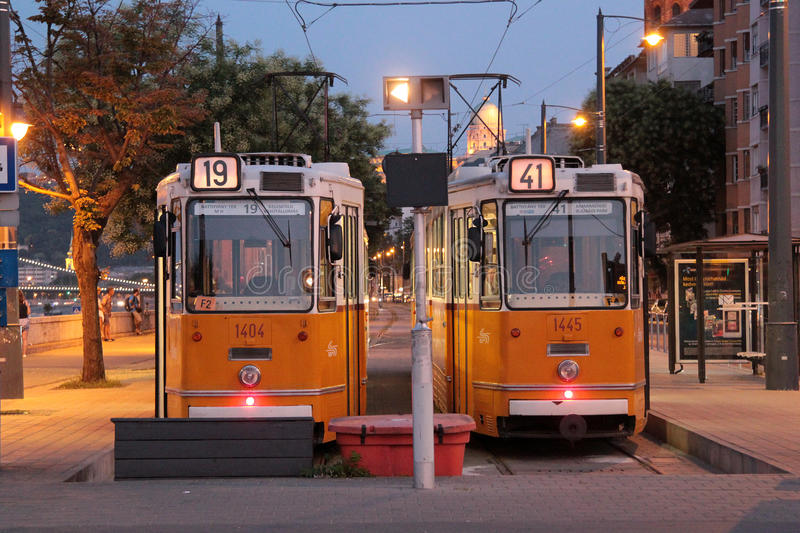 Two trams in Budapest royalty free stock photography