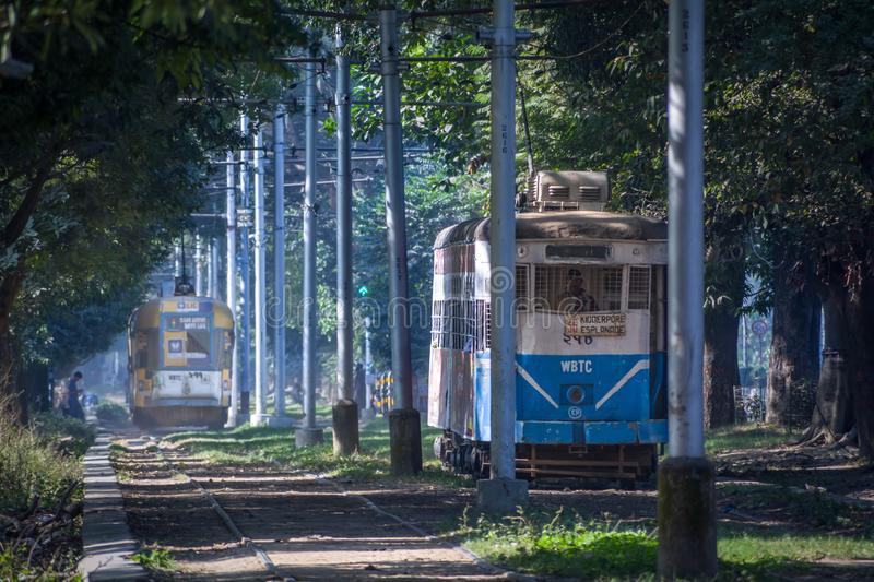 TWO TRAMS RUN THROUGH MAIDAN WITH THEIR OWN NOSTALGIC PACE royalty free stock photo