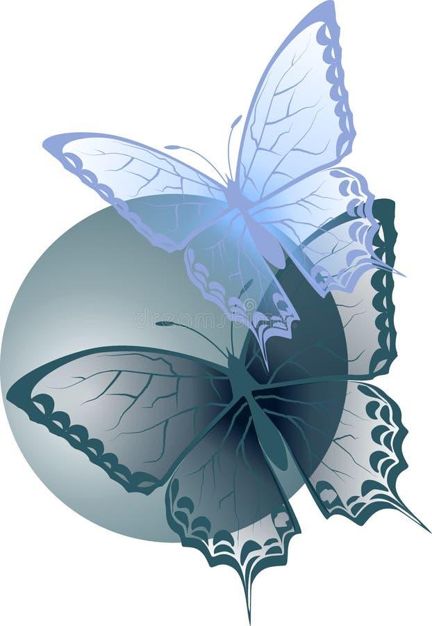 Two transparent blue butterflies stock image