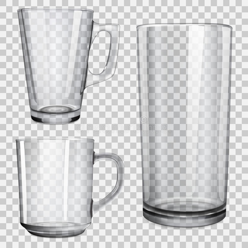 Two transparent glass cups and one glass for juice vector illustration