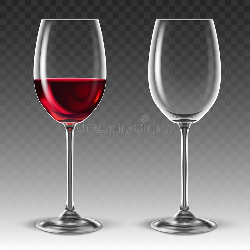 Free Two Transparent Glasses For Wine, One Of Which Is Half Filled With Red Wine. 3D Vector. High Detailed Realistic Illustration Stock Photography - 155380332