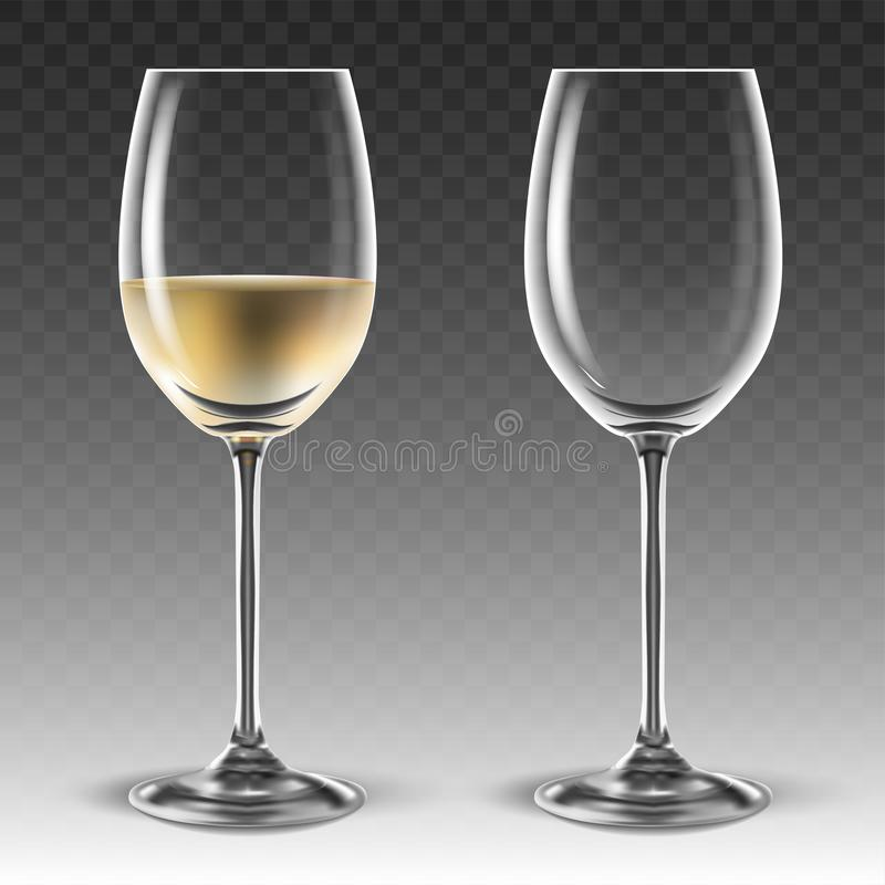 Free Two Transparent Glasses For Wine, One Of Which Is Half Filled With White Wine. 3D Vector. High Detailed Realistic Illustration Royalty Free Stock Photography - 155380367