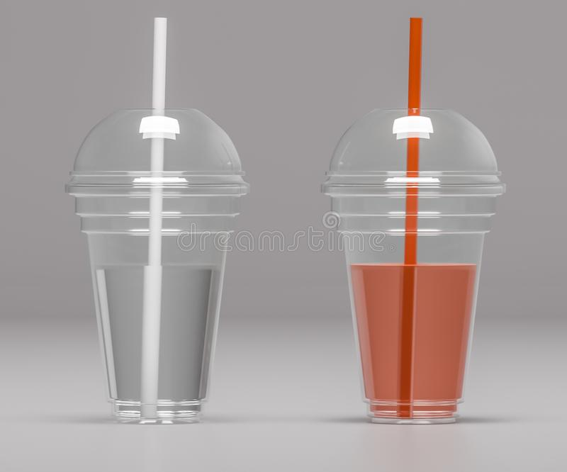 Two transparent plastic cups with tubes - 3D illustration stock illustration