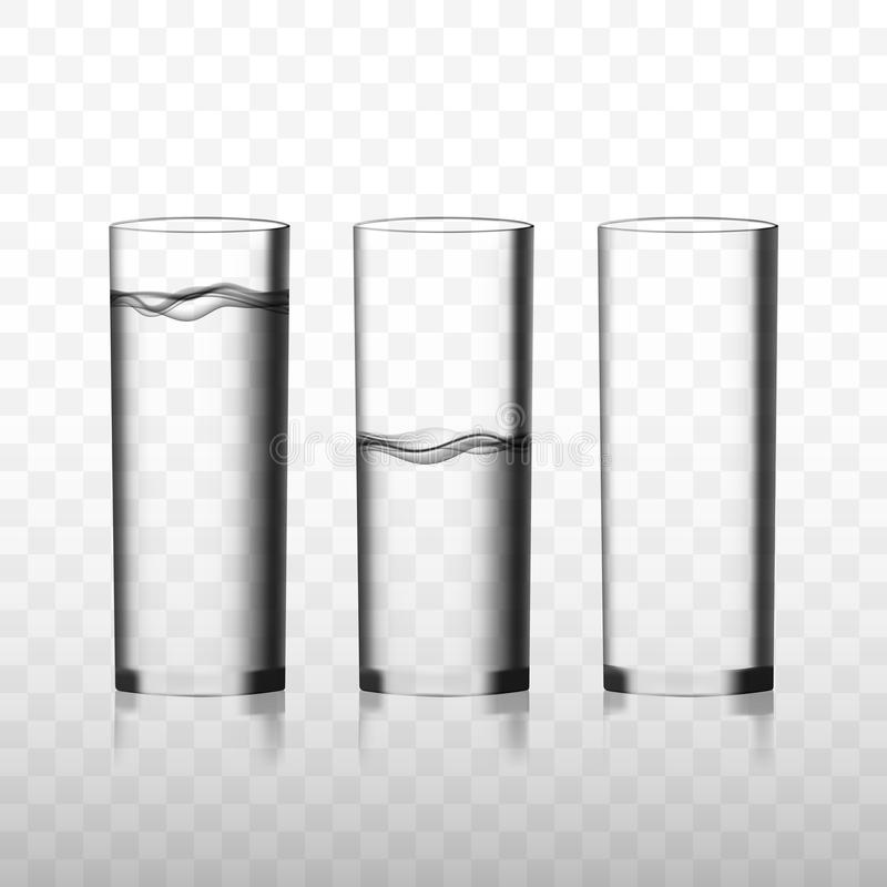 Free Two Transparent Vector Glasses Of Pure Water And One Empty Glass Stock Image - 140473601