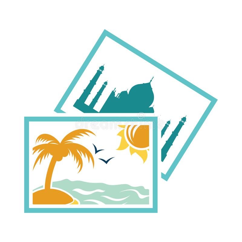 Two travel photograph icon royalty free illustration