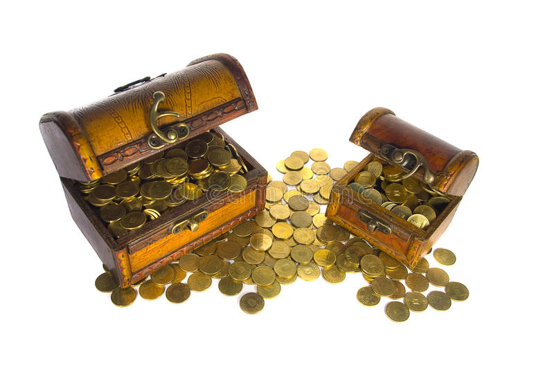 Two Treasure Chests With Gold Coins Stock Image