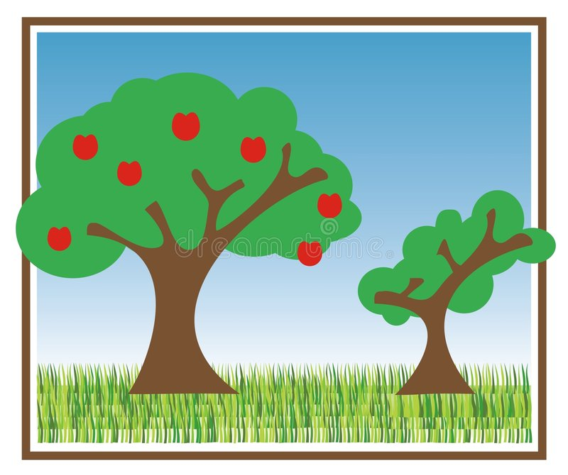 Download Two trees stock vector. Illustration of backgrounds, natural - 4414146