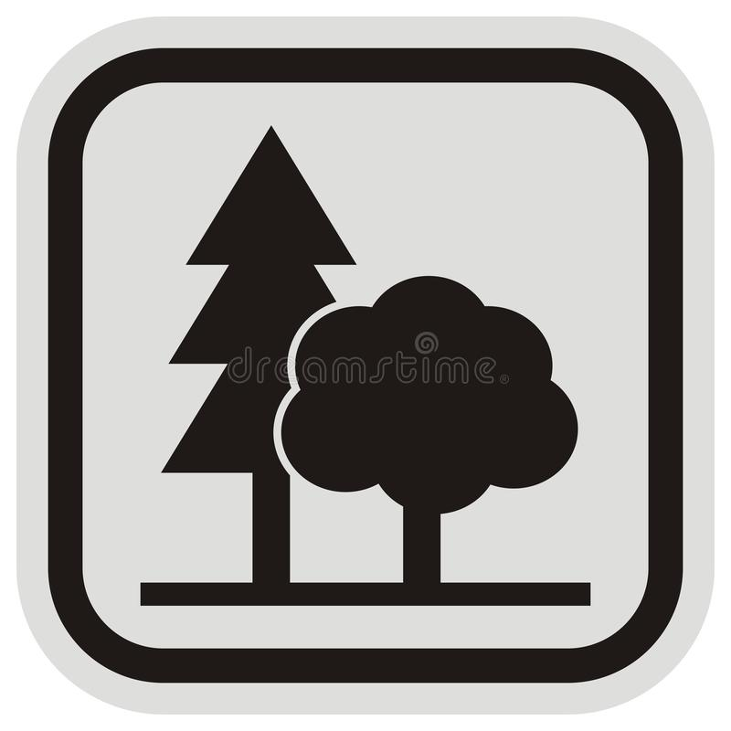 Two trees, black silhouette at gray and black frame, eps. Planting trees, black silhouette of trees, vector icon at black and gray frame. Coniferous and stock illustration