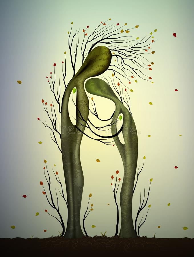 Two trees in love looks like man and woman, tree hug, family concept, getting older together, autumn tree feelings, stock illustration
