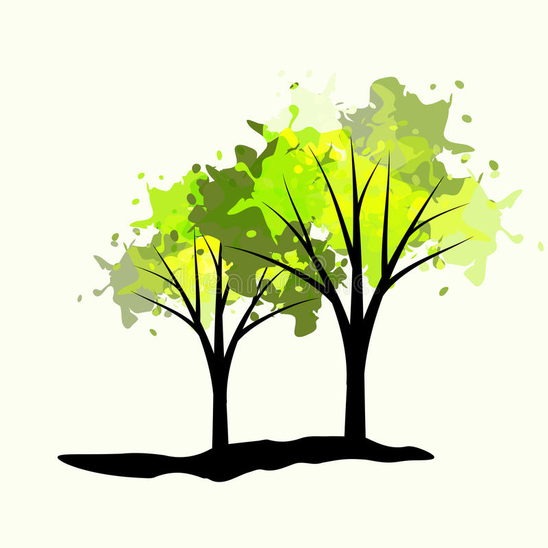 Two trees. With pain drops vector illustration