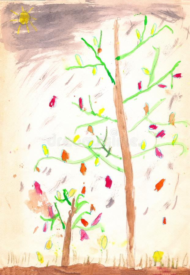 Two trees with red and yellow leaves, brown ground, grey sky, season autumn. Child drawing vector illustration