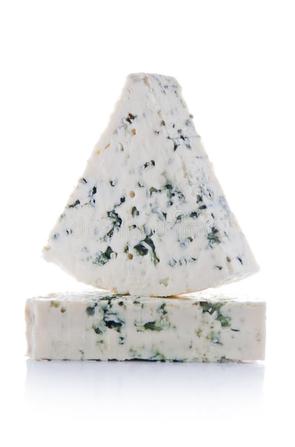 Two Triangular Blue Cheese Portions royalty free stock image