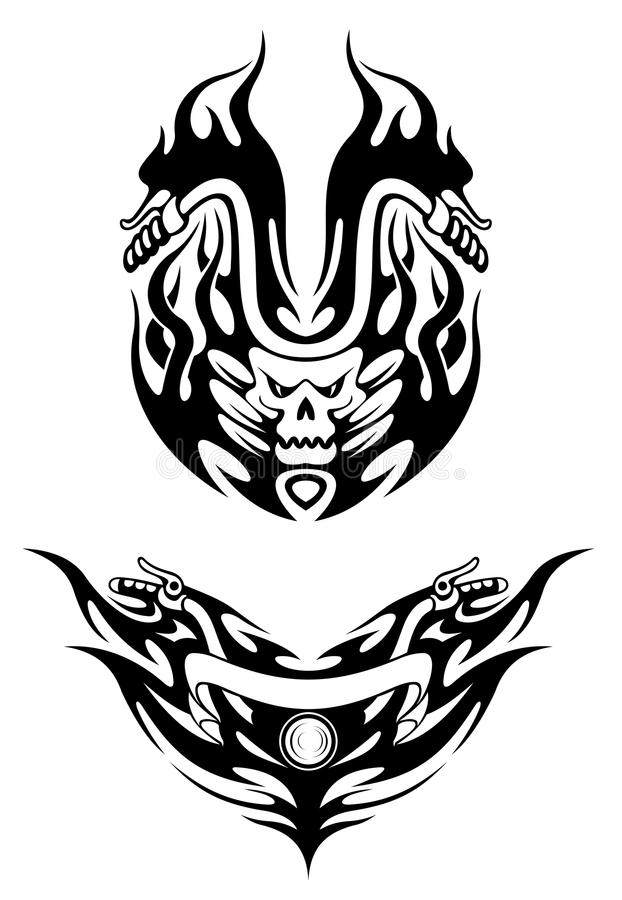 Two tribal bike tattoos royalty free illustration