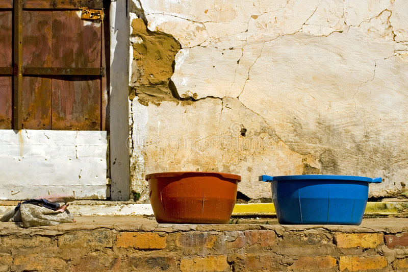 Download Two tubs on old porch stock photo. Image of wood, africa - 6749562