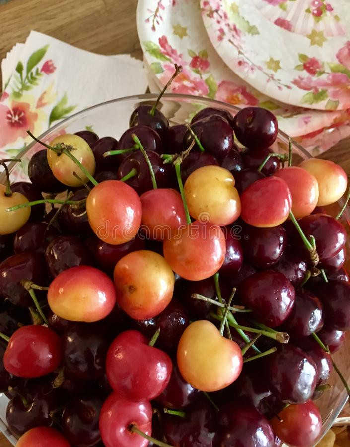 Two Types of Sweet cherries stock photography
