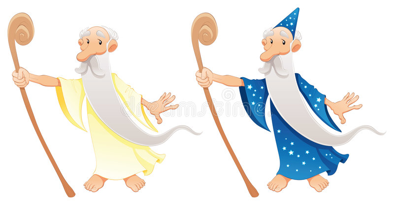Two types of wizard royalty free illustration