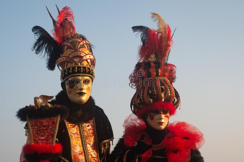 Two typical masks in Venice, Carnival royalty free stock photos