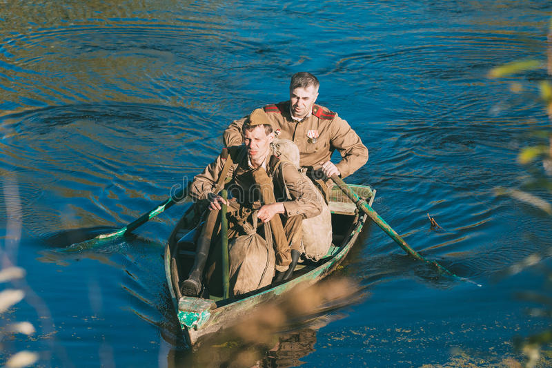 Two unidentified re-enactors dressed as World War II Soviet Russian soldiers stock images
