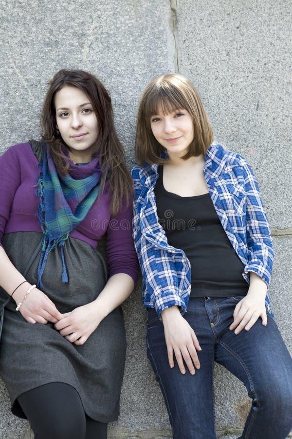 Two urban girls royalty free stock photos